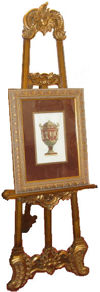 This ornate timber display easel is covered in Gold Leaf and has an adjustable-height shelf