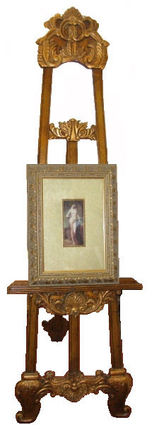 This larger ornate timber display easel is also covered in Gold Leaf and also has an adjustable-height shelf