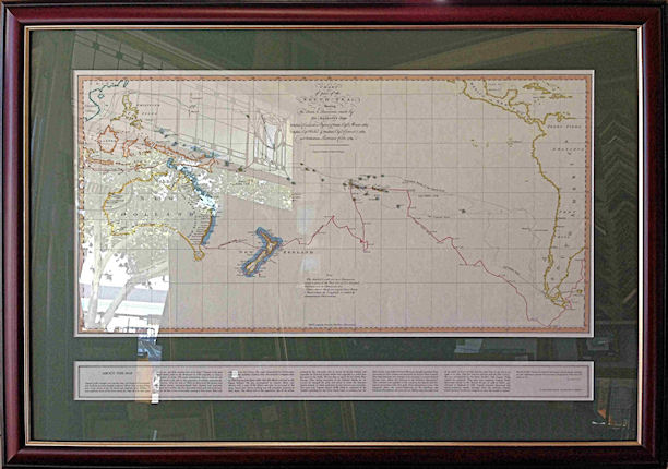 Burgundy-Gold Timber Framed Limited Edition of Replica of Map used by Captain James Cook.