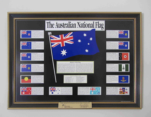 Australian National Flag montage print, depicting all Australian flags, including naval, Military and Aboriginal flags